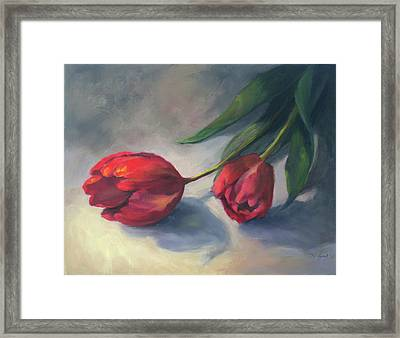 A Pair Of Tulips Framed Print by Vikki Bouffard