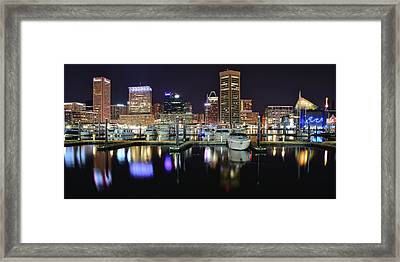A Panoramic Baltimore Night Framed Print