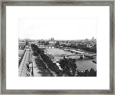 A Panoramic View Of Paris Framed Print by Jules Hautecoeur