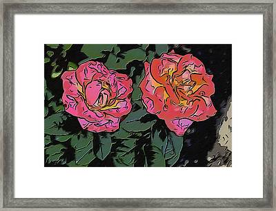 A Parrot And A Tiger Or Two Roses Framed Print