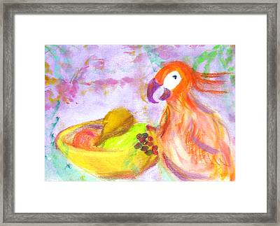 A Parrot And The Passion Fruit Framed Print by Michela Akers