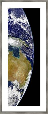 A Partial View Of Earth Showing Framed Print by Stocktrek Images