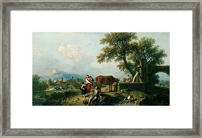 A Pastoral Scene With Cowherds Framed Print