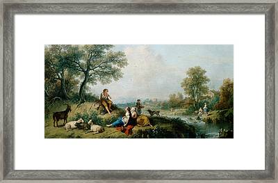 A Pastoral Scene With Goatherds Framed Print by Francesco Zuccarelli