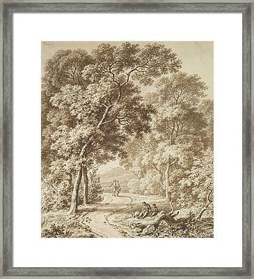 A Path Bordered By Trees With Two Beggars And A Couple Strolling Framed Print