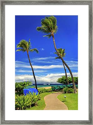 Framed Print featuring the photograph A Path In Kaanapali by James Eddy