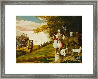 A Peaceable Kingdom With Quakers Bearing Banners Framed Print by Celestial Images