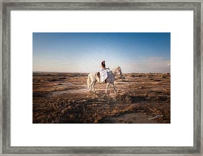 A Peaceful Desert Walk Framed Print by ElizabethAnn Linder