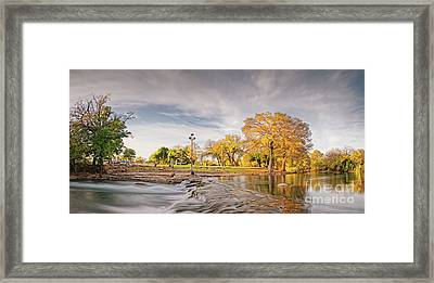 A Peaceful Fall Afternoon At Rio Vista Dam Park - San Marcos Hays County Texas Hill Country Framed Print