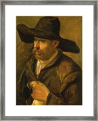 A Peasant Holding A Duck Framed Print by Govert Dircksz Camphuysen