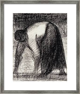 A Peasant Woman With Hands In The Ground Framed Print