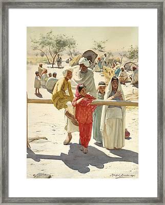 A Peep At The Train, India, 1892 Framed Print by Rudolf Swoboda