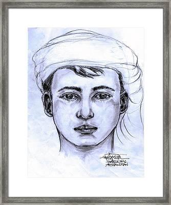 A Pensive Boy Framed Print by Robert Salter