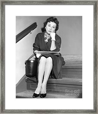 A Pensive Look From Lisa Ferraday. Framed Print by Anthony Calvacca