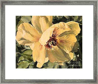Framed Print featuring the painting A Peony For Miggie by Laurie Rohner