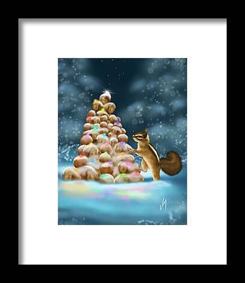 Christmas Squirrel Framed Prints
