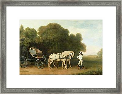 A Phaeton With A Pair Of Cream Ponies In The Charge Of A Stable-lad Framed Print