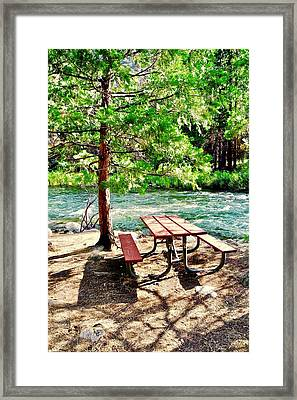 A Picnic Table By The King's River Framed Print