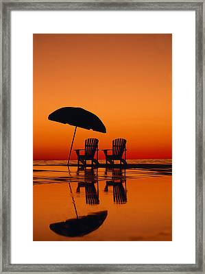 A Picturesque Scene With Two Chairs Framed Print