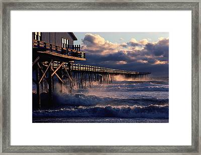 A Pier At Nags Head Is Pounded By Early Framed Print by David Alan Harvey