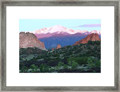 A Pikes Peak Sunrise Framed Print