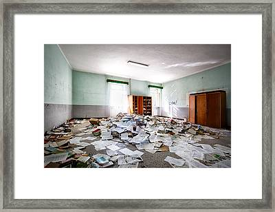 A Pile Of Knowledge - Abandoned School Building Framed Print by Dirk Ercken