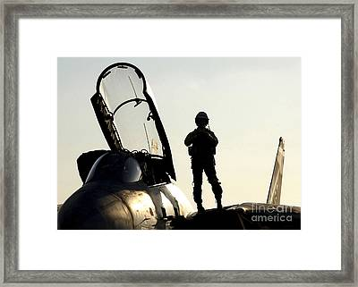A Pilot Prepares To Enter His F-14b Framed Print by Stocktrek Images