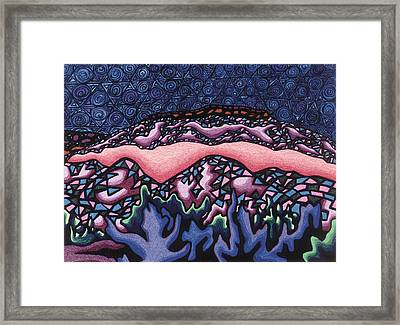 A Pink Line At Night Framed Print