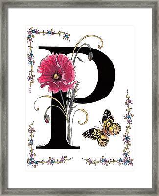 A Pink Poppy And A Painted Lady Butterfly Framed Print