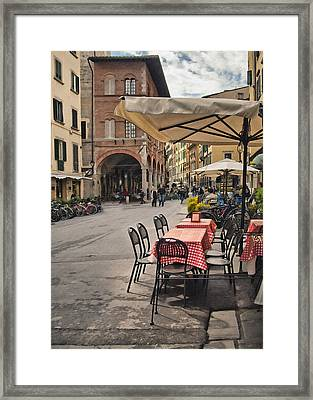 A Pisa Cafe Framed Print by Sharon Foster