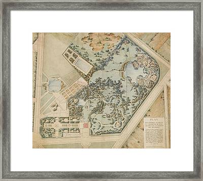 A Plan Of The Petit Trianon And Its Gardens Framed Print by MotionAge Designs
