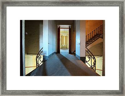 Framed Print featuring the photograph A Play Of Light On Ythe Stairway by Dirk Ercken