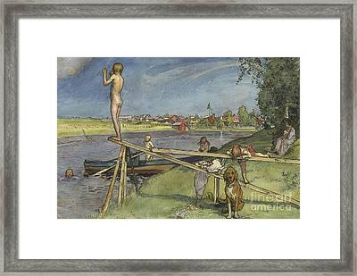 A Pleasant Bathing Place Framed Print by Carl Larsson