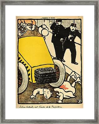 A Police Car Runs Over A Little Girl Framed Print by Felix Edouard Vallotton