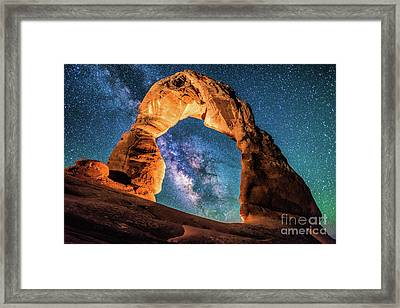 A Portal To The Milky Way At Delicate Arch Framed Print
