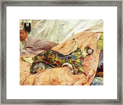 A Portrait Of Sarah Bernhardt, Reclining In A Chinese Interior  Framed Print