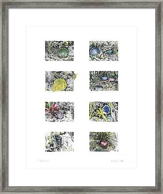Framed Print featuring the drawing A Potters Garden by Kerryn Madsen-Pietsch