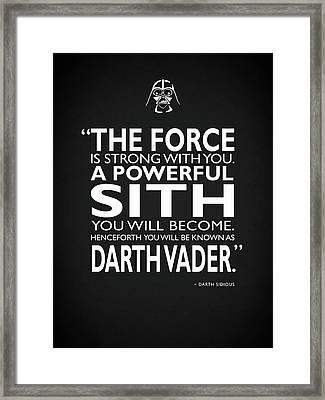 A Powerful Sith Framed Print by Mark Rogan