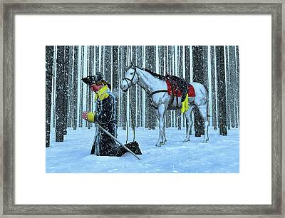A Prayer In The Snow Framed Print by Dave Luebbert