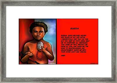 A Prayer To Elegua Framed Print by Carmen Cordova