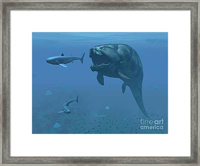 A Prehistoric Dunkleosteus Fish Framed Print by Walter Myers