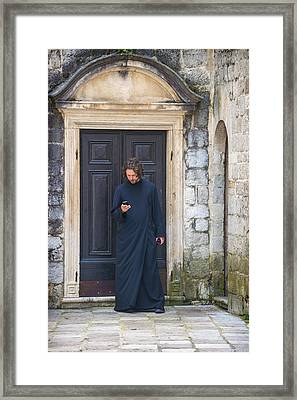 A Priest Sending A Message With His Cell Athens Greece Framed Print by Eduardo Huelin