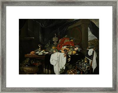 A Pronk Still Life With Fruit, Oysters, And Lobsters Framed Print by Andries Benedetti