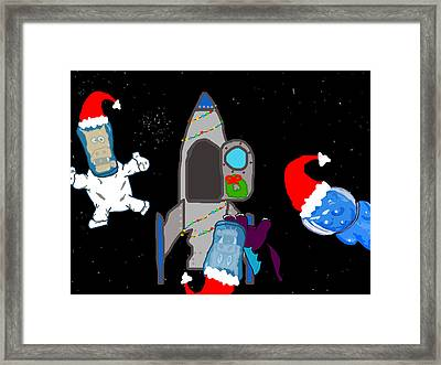 A Puppydragon Christmas In Space Framed Print