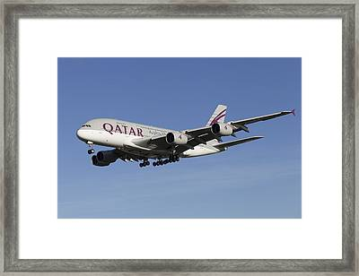 A Qatar Airlines Airbus A380 Framed Print