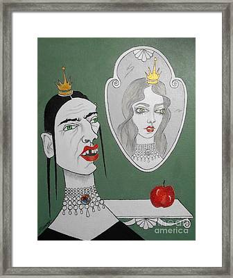 A Queen, Her Mirror And An Apple Framed Print