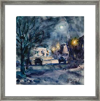 A Quiet Cold Night Under The Moon Framed Print by Ylli Haruni