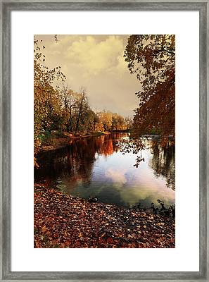 a quiet evening in a city Park painted in bright colors of autumn Framed Print