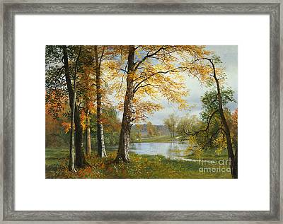 A Quiet Lake Framed Print by Albert Bierstadt