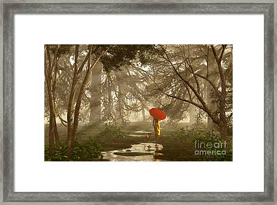 A Quiet Walk After A Rainy Day Framed Print